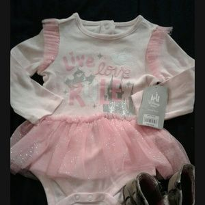 Disney pink long sleeve onesie with tan boots